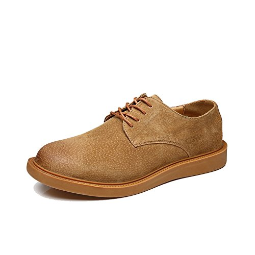 Hilotu Clearance Men's Vintage Suede Lace Up Oxford Handcrafted Perforated Breathable Brogue Boots Soft Sole Outdoor Sneakers (Color : Yellow, Size : 9.5 D(M) US)