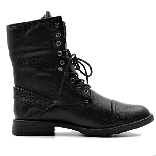 Stylish & Comfort Men's Lace up Cap Toe Winter Ankle Combat Boots with Foldable Shaft for Snow/Cold Weather
