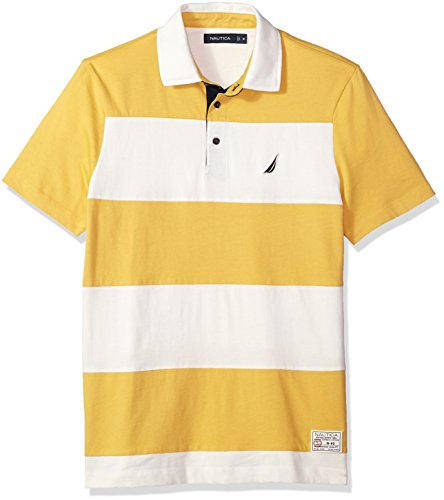 Nautica Men's Classic Fit Cotton Jersey Striped Polo Shirt, Mustard Field, X-Large (Yellow Striped Polo)