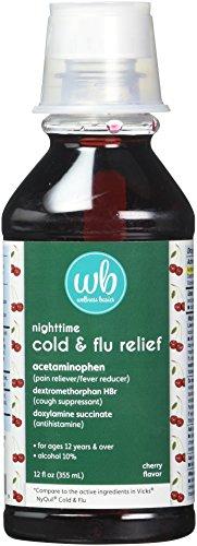 - Wellness Basics Multi-Symptom Nighttime Cold & Flu Relief Liquid, Cherry, 12 Fluid Ounce