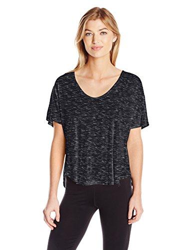 Calvin Klein Performance Women's Plus Size Spacedye Jersey Tee with Inner T-Back, Black, 3X