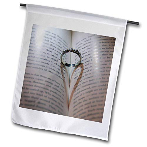 3dRose Stamp City - Miscellaneous - Photograph of a Wedding Ring in Book Where its Shadow Created a Heart. - 12 x 18 inch Garden Flag (fl_292976_1)