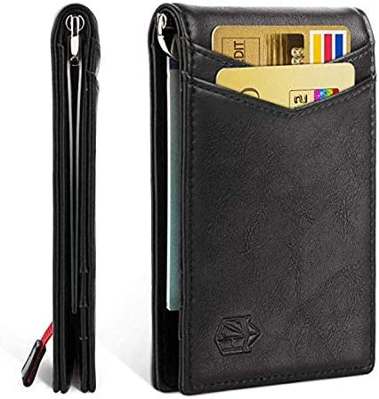 Cartera de cuero hombre RFID protect leather money clip slim card wallet trifold