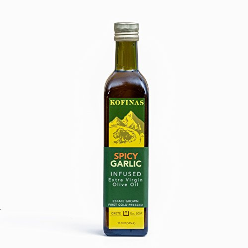 Spicy Garlic Flavored Extra Virgin Cold Pressed Olive Oil 500 Ml (17 Oz) (Spicy Garlic: Rosemary, Oregano, Thyme, Basil, Garlic, Red and Chipotle Peppers Flavored)
