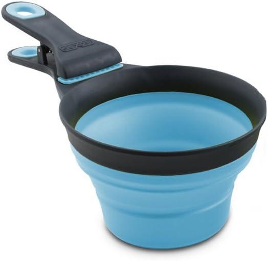 Dexas Popware for Pets Collapsible KlipScoop, 1/2 Capacity, Gray/Blue