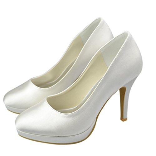Minishion Y149h Stiletto Para Mujer De Tacón Alto Satinado Fiesta De La Boda Plataforma Nupcial Zapatos De Flores Marfil-10cm Talón