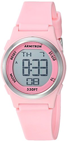 Armitron Sport Women's 45/7102PNK Digital Chronograph Matte Light Pink Resin Strap Watch