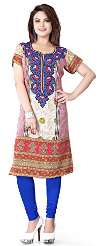 Maple Clothing Short Sleeve Top Tunic Kurti Printed Womens Blouse India Clothes – XS…Bust 32 inches, Blue