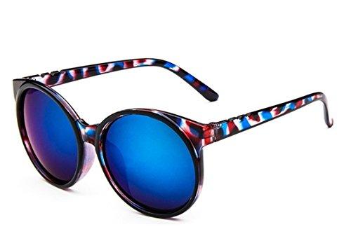 Chezi Women's Plastic Full Frame Iridium Mirrored Circle Lens Round Sunglasses (blue - For Plastic Guard Sun Nose