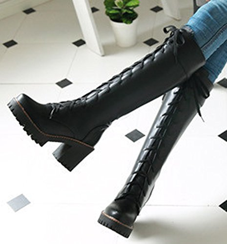 Comfortabele Dames Rijlaarzen Met Idifu-dames Rijlaarzen Met Kniehoge Hakken Zwart