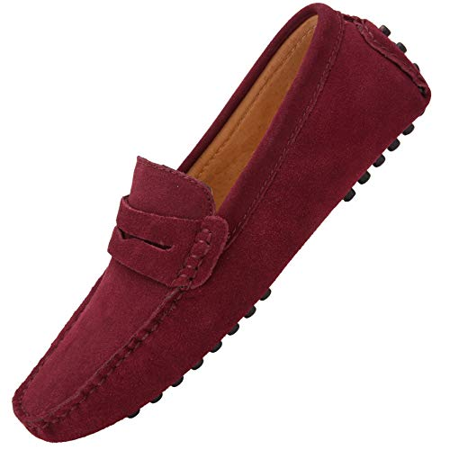 JIONS Men's Driving Penny Loafers Suede Driver Moccasins Slip On Flats Casual Dress Shoes Red 6.5 D(M) US/EU 38