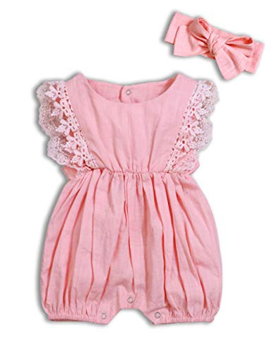 (Baby Girl Romper Bodysuits Lace Flutter Sleeveless Bowknot Jumpsuit Outfits Clothes (Pink, 12-18 Months))