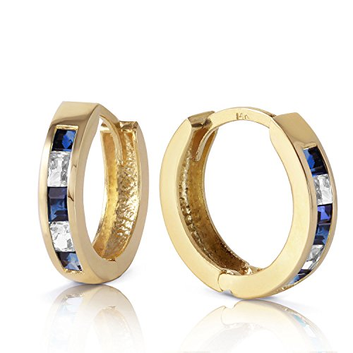 1.26 Carat 14K Solid Gold Hoop Earrings Natural Sapphire White To ()