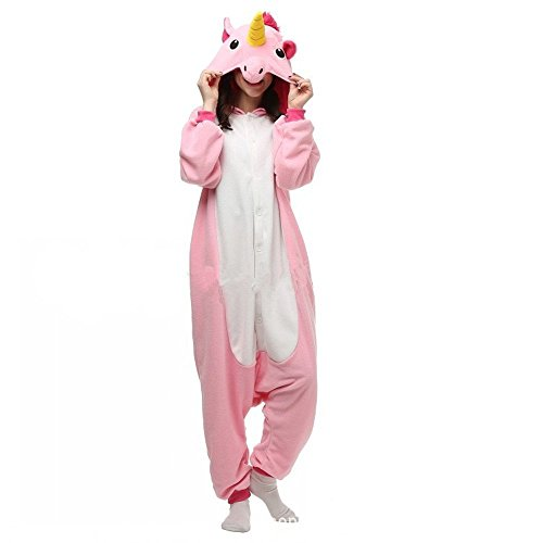 Cozy Unicorn Dress Adult Womens Costumes (Rainbow Fox Homewear Adults Unicorn Pajamas Unicorn Cosplay Costume sleepwear Halloween Costumes (Large, Pink))