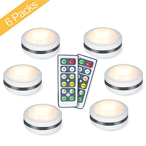 Puck Lights With Remote, Starxing Wireless Led Puck Lights Battery Operated, Led Puck Lights With Remote Control, Led Under Cabinet Lighting, Dimmable Closet Light, Battery Powered, 4000K Natural Whit