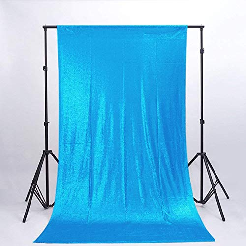 ShinyBeauty Baby Shower Sequin Backdrop,Children Birthday Party Decoration, Aqua 2FTx7FT