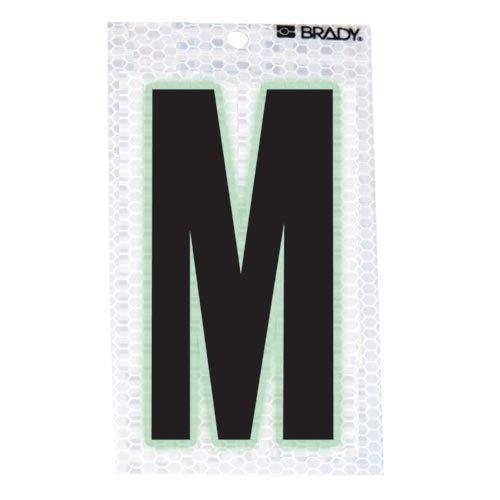 Brady 3020-M, 105594 Glow-In-The-Dark/Ultra Reflective Letter - M, 15 Packs of 10 pcs