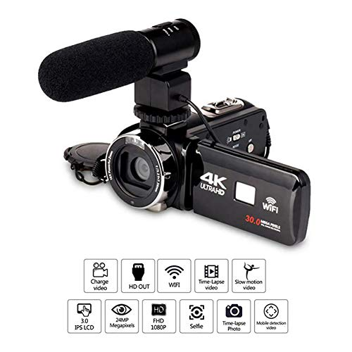 "4K handheld video camera, 3""LCD portable full HD 1080P, night vision 16x digital zoom, external microphone wide-angle lens"