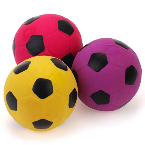 Chiwava 3PCS 2.7'' Squeak Latex Dog Toy Football Chew Fetch Throw Ball for Medium Dogs Interactive ()