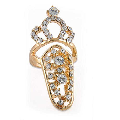 Punk Style Bowknot Crystal Rhinestone Nail Art Knuckle Band Finger Tip Ring Gift (Style - # 11)