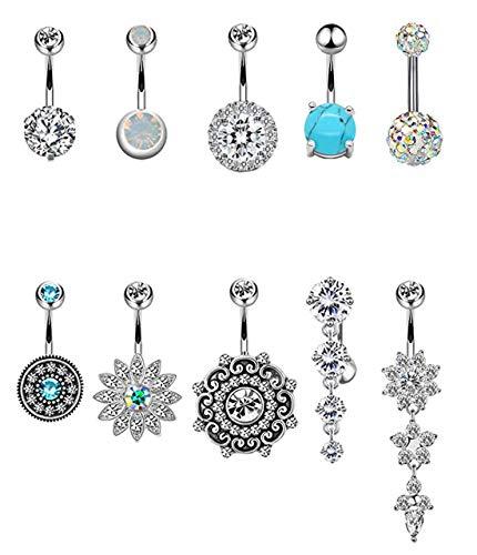 (YOVORO 10PCS 14G 316L Stainless Steel Belly Button Rings for Women Girls Navel Rings Barbell Body Piercing (c: 10 pcs))