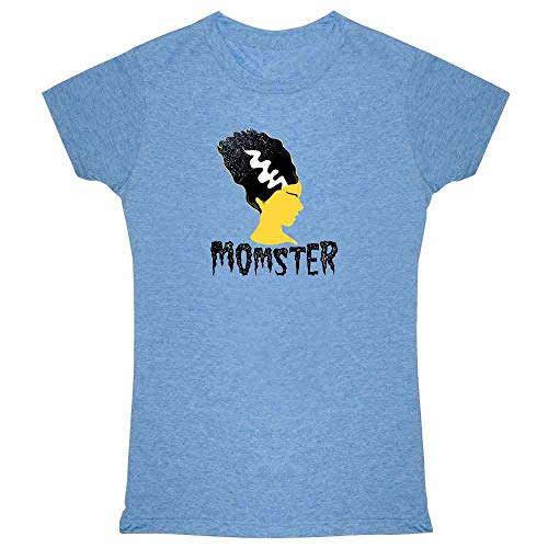 Pop Threads Momster Mom Monster Halloween Fall Costume Funny Heather Blue 2XL Womens Tee Shirt ()