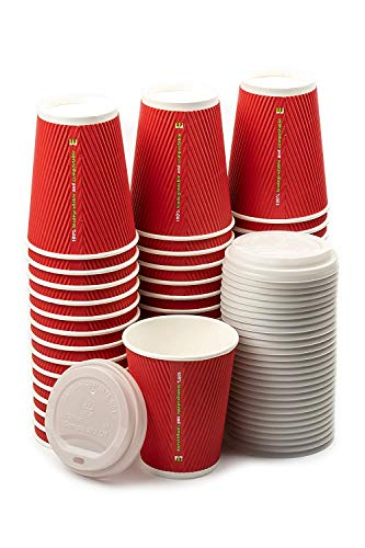 12 Oz Compostable Insulated Paper Coffee Cups with Plant-Based Lids, 50 pcs - Triple Layer Rippled Cups, no Need for Sleeves, for hot and Cold Drinks
