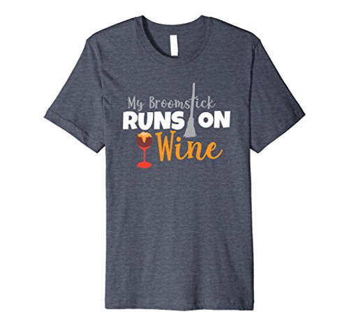 Mens My Broomstick Runs On Wine T-Shirt Halloween Witch Costume Small Heather (Do Halloween Costumes Run Small)