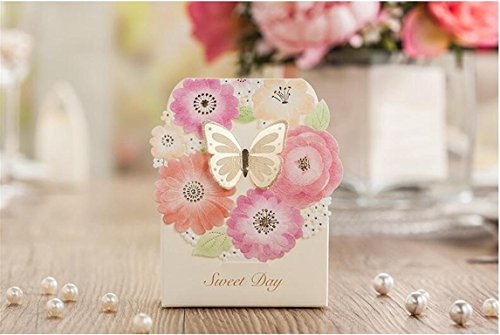 Finex® 100 pcs Premium Korean Wedding Design *3D Butterfly on Flower Wreath* Party Favors Candy Boxes *Hollow Carved (Wedding Card Holder Box Red)