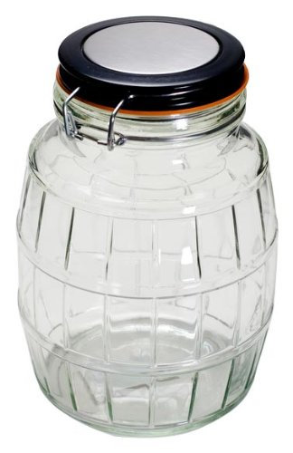 Housewares International 64-Ounce Old Fashioned Barrel Style Glass Storage Jar with Metal Clip Lid, Round