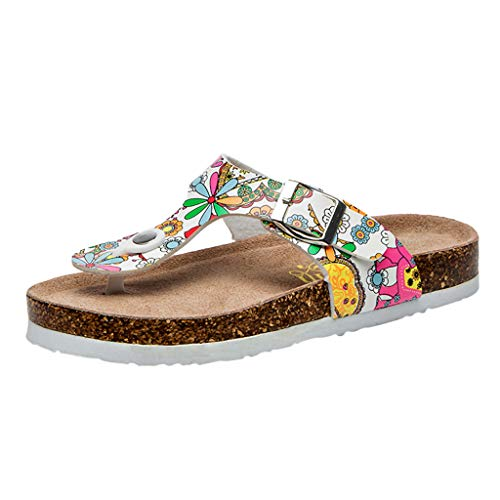 Respctful✿Women's Flip-Flops Floral Summer Wedge Flip Flops Boho Shoes Flats Casual Slippers for Beach Hot Pink