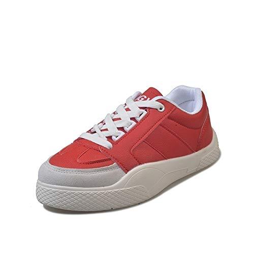 ZHZNVX Zapatos de Mujer PU (Poliuretano) Spring & Summer Comfort Sneakers Flat Heel Blanco/Negro / Rojo Red