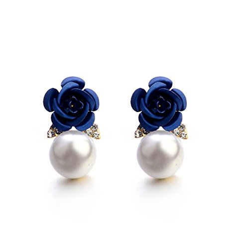 BEUU Hot Sale Pearl Rose Ear Studs Fashion Jewelry Bohemia Flower Rhinestone Earrings For Women Summer Style (First Communion Hair Ideas)