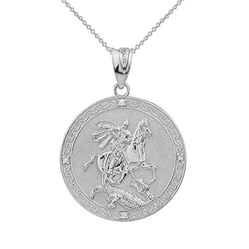 Sterling Silver Saint George Medal Protection CZ Charm Pendant Necklace (Small), 16