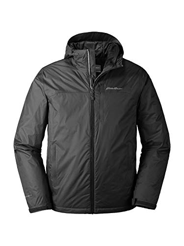 Eddie Bauer Men's Cloud Cap Insulated Rain Jacket, Black Regular -