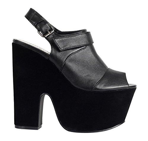 et Sandales Taille Talon Cale Talon Femmes à Noir Chaussures pour Mesdames Plateforme Haut Découpe escarpins OzqWRvw
