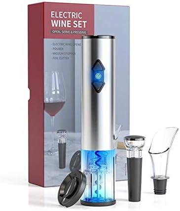 JSJJAOL Sacacorchos Abridor de vinos Sacacorchos de Acero Inoxidable Abre de Vino eléctrico USB Recargable Recargable abrelatas Accesorios de Cocina Abridor de Botellas (Color : Red)