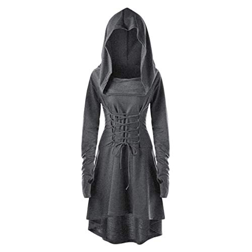 Hoodie Dresses for Women Show Costumes Lace Up Hooded Vintage Pullover High Low Bandage Long Dress Cloak Gray