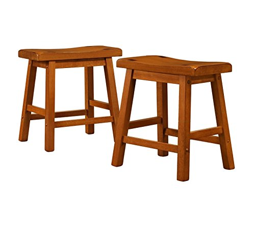 ModHaus Living Set of 2 Honey Oak Country Style Saddle Back Solid Wood Stool - Chair Height - Includes (TM)