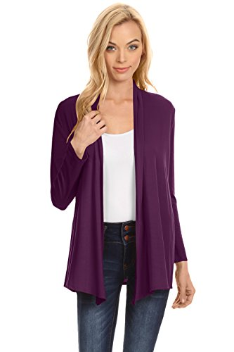 Simlu Womens Open Drape Cardigan Reg and Plus Size Cardigan Sweater Long Sleeves - USA Plum X-Large