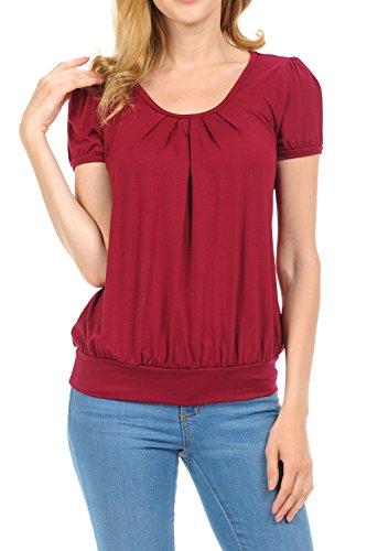 Shamaim Women Scoop Neck Short-Sleeves Front Pleated Top Burgandy (Scoop Neck Short Sleeve Sweater)