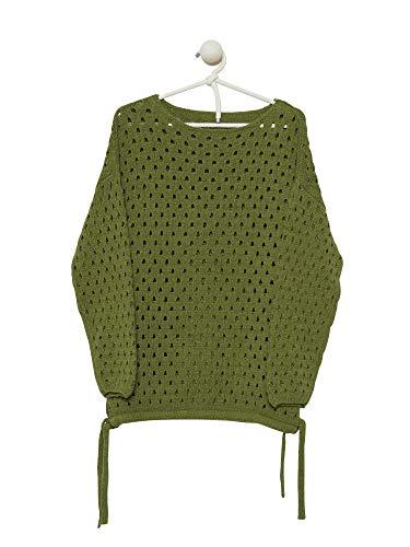 (Cashmeren Women's Open Stitch Sweater (Olive, X-Large))