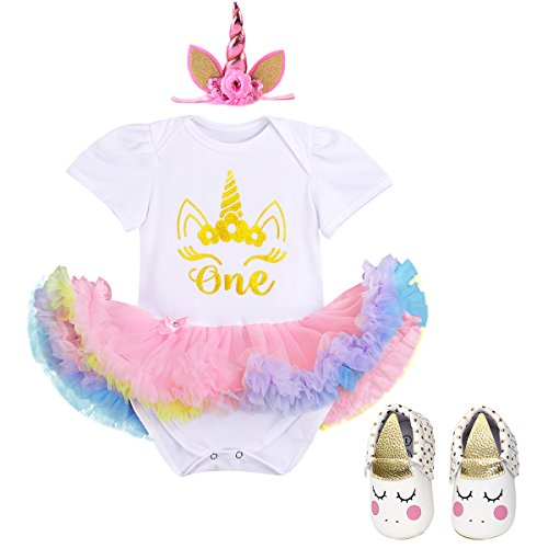 Dress Baby OBEEII Princess Set Birthday Party amp; Clothes Pink Unicorn Unicorn Photo Headband Girl Headband Costume First Summer 3PCS Prop Shoes Outfits Tutu amp; Romper 4qxrv4Y
