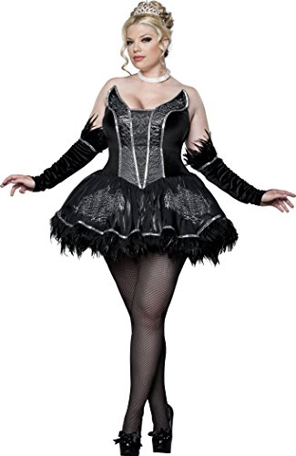 InCharacter Costumes Women's Black Swan Ballerina Plus, Black/Silver,