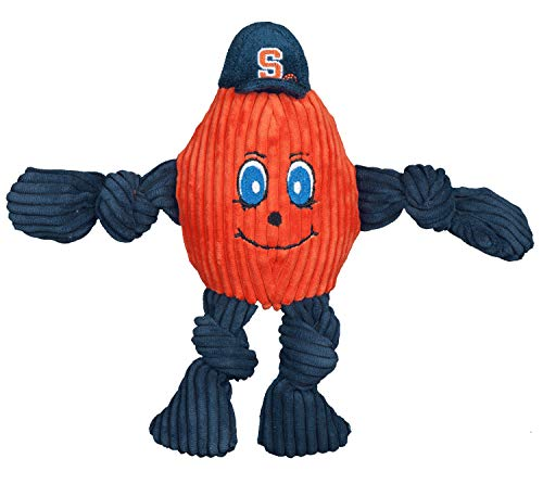 HuggleHounds Plush College Mascot Corduroy Durable Squeaky Knottie, Great Dog Toys for Aggressive Chewers, Syracuse Otto the Oranger, -