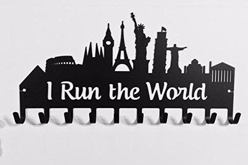 I Run the Worldメダルハンガー B077N9PXBY ブラック ブラック