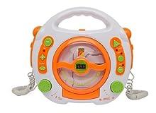 Idena 6800533 - Reproductor de CD y MP3 (con 2 micrófonos para Cantar y Puerto USB), Color Blanco