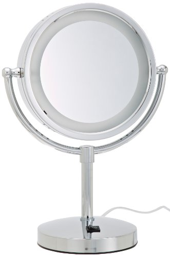 (Jerdon HL745CO 8.5-Inch Halo Lighted Vanity Mirror with 5x Magnification, Chrome Finish)