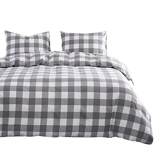 Wake In Cloud - Gray Plaid Duvet Cover Set, Buffalo Check Gingham Geometric Checker Pattern Printed in Grey White, Soft Microfiber Bedding (3pcs, King Size)