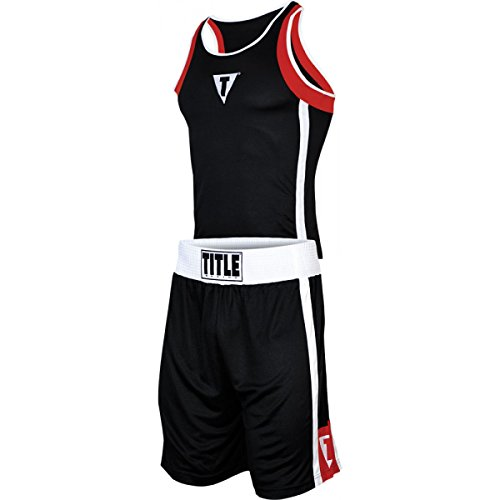 Title Aerovent Elite Amateur Boxing Set 4, Black/Red, Youth Medium (Title Boxing Racerback Jersey)